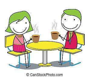 coppia, caffè