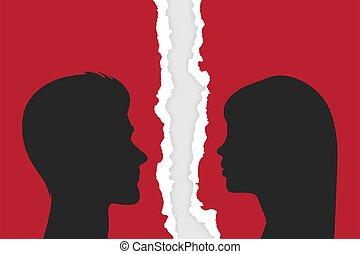 coppia., casato, strappato, disputa, -, relazione, fondo., silhouette, vettore, persone, closeup, illustrazione, strappato, uomo, concept., problemi, donna, scandalo, divorzio, carta