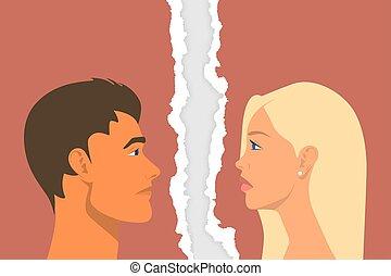 coppia., casato, strappato, disputa, -, relazione, fondo., vettore, persone, closeup, illustrazione ritratto, triste, strappato, uomo, concept., problemi, donna, scandalo, divorzio, carta