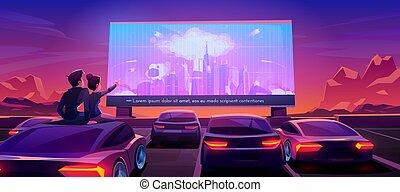 coppia, datazione, automobile, drive-in, cinema, teatro