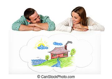 coppia, daydreaming, giovane, house., futuro