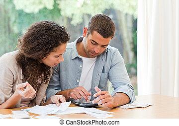 coppia, domestico, loro, calcolatore, giovane, effetti
