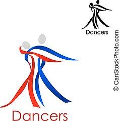 coppia, emblema, astratto, sagoma, ballo
