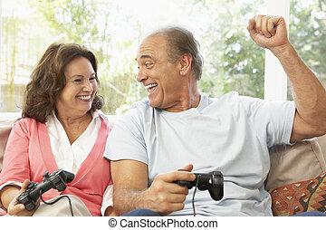 coppia, gioco, computer, casa, anziano, gioco