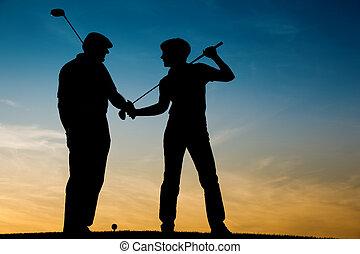 coppia, gioco golf, anziano, sunse