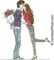coppia, giovane, baciare