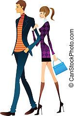 coppia, giovane, camminare