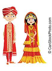 coppia, indiano, matrimonio