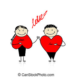 coppia, insieme, valentina, day., disegno, tuo