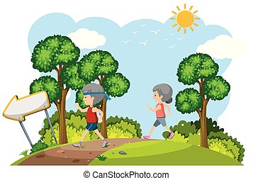 coppia, jogging, anziano, natura