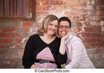 coppia, lesbica, fuori
