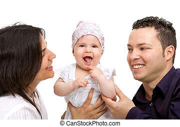 coppia, loro, bambino, daughter., giovane