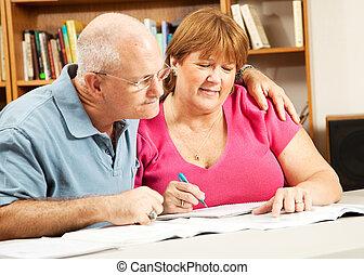 coppia, maturo, biblioteca, studi