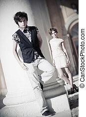 coppia, moda, giovane