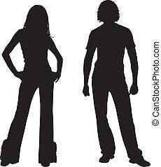 coppia, moda, silhouette