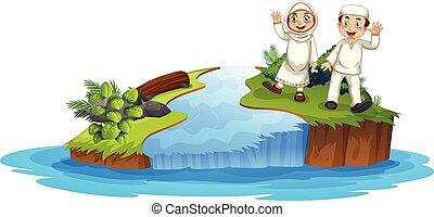 coppia, musulmano, natura