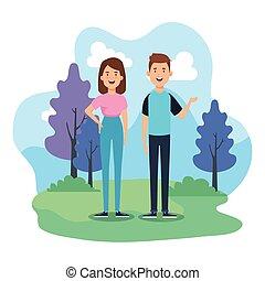 coppia, natura, parco, giovane