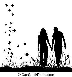 coppia nera, silhouette, prato
