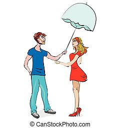 coppia, ombrello, sotto