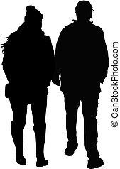 coppia, persone., giovane