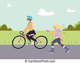 coppia, persone, sport esterni, attività