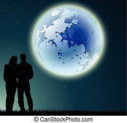 coppia, pieno, silhouette, luna
