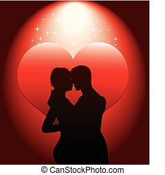 coppia, sexy, hea, rosso, silhouette