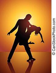 coppia, silhouette, ballo