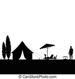 coppia, silhouette, illustrazione, campeggio, natura