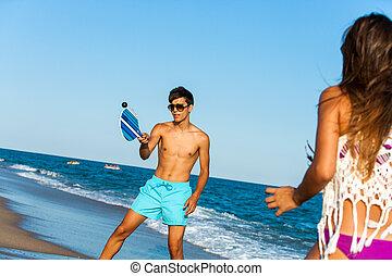 coppia, spiaggia, gioco, tennis.