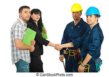 coppia, squadra, lavorante, accordo