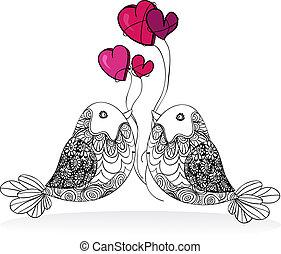 coppia, valentina, amore, isolato, uccello