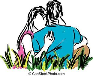 coppia, vettore, amore, illustrazione