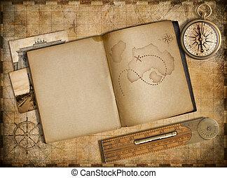 copybook, vendemmia, viaggiare, mappa, avventura, bussola, concept.