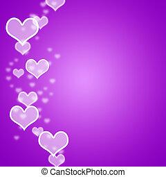 copyspace, malva, esposizione, romanza, bokeh, fondo, vuoto, cuori, amare