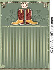 corda, decorazione, fondo, cowboy, boots., vendemmia, occidentale, ferro cavallo