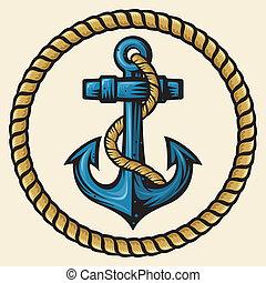 corda, disegno, ancorare