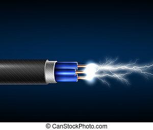 corda, elettricità, elettrico, sparkls