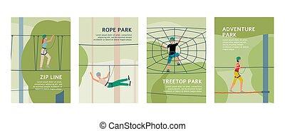 corda, set, sagoma, manifesto, annuncio, avventura esterna, parco
