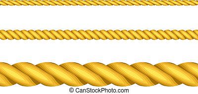 corde, vettore, illustrazione, oro
