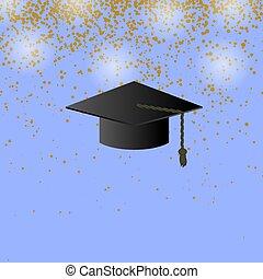 coriandoli, berretto, sfondo nero, graduazione