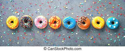 coriandoli, colorito, vario, fila, donuts