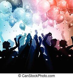 coriandoli, festa, palloni, fondo, folla