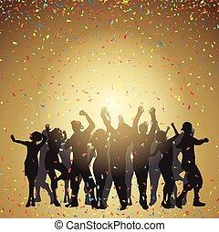 coriandoli, festa, persone fondo