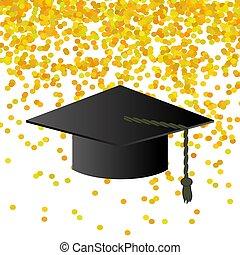 coriandoli, sfondo nero, berretto, graduazione
