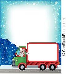 cornice, 2, furgone, tema, natale