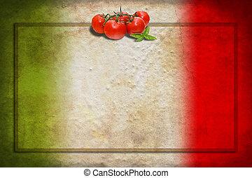 cornice, bandiera, pomodori, italiano