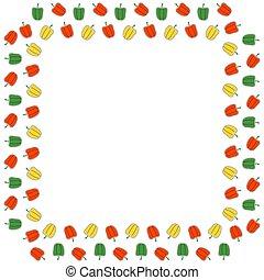 cornice, bianco, peperoni, posto, rosso, quadrato, verde giallo, colori, fondo., vector., campana, text.