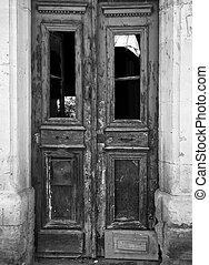 cornice casa, derelitto, vernice, porta, sbucciatura, vecchio, pietra, monocromatico, doppio, windows, immagine, abbandonato, sbiadito, rotto