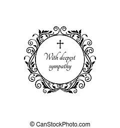 cornice, croce, fiori, rotondo, deepest, compassione